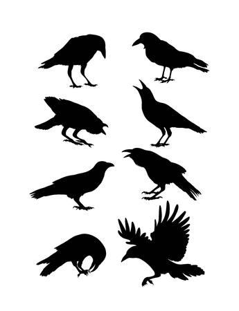 Illustration pour Black Crow Silhouettes, art design - image libre de droit