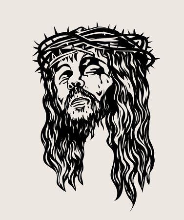 Illustration pour Jesus Christ Face, art vector sketch drawing design - image libre de droit