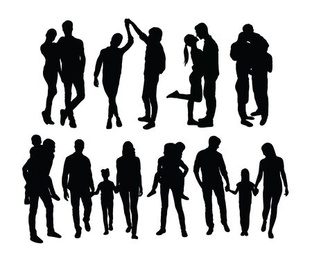 Illustration for Happy Family Silhouettes, art vector design - Royalty Free Image