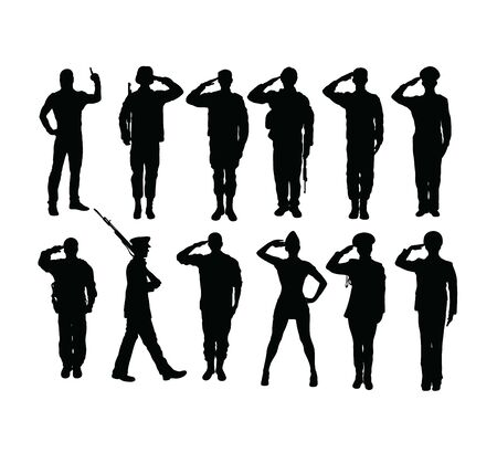 Foto per Saluting Soldier and Army Force Silhouettes, art vector design - Immagine Royalty Free