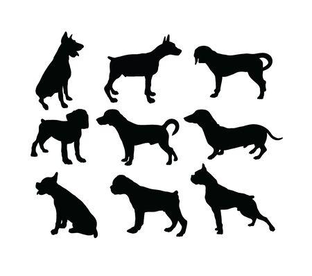 Illustration pour Dog Silhouettes, art vector design - image libre de droit