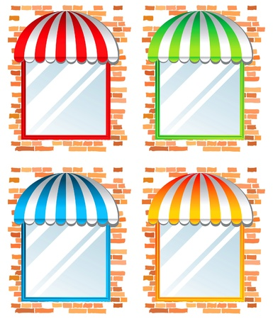 store window with awning in 4 color variations