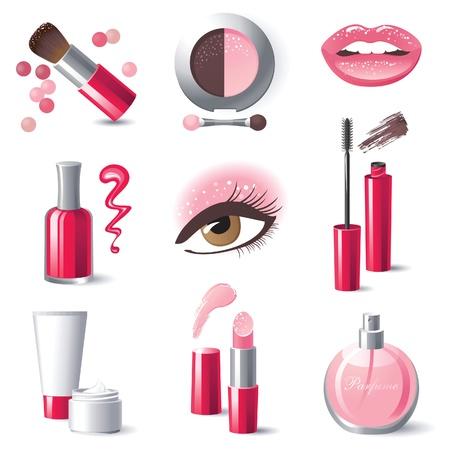 Glamourous make-up icons set