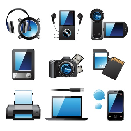 Illustration pour 9 highly detailed electronic devices icons - image libre de droit