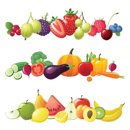 fruits vegetables and berries vector bordersのイラスト素材