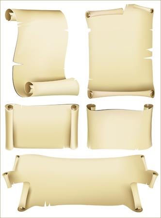 retro-styled paper scrolls