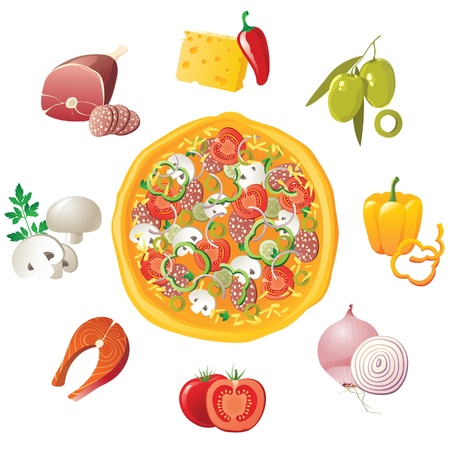 Pizza and ingredients - make your own pizza!