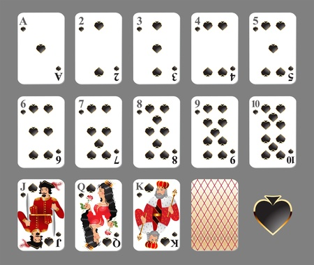 Playing cards - spade suit highly detailed illustration