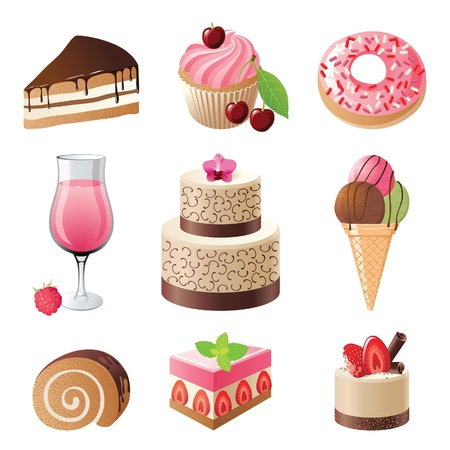 sweets and candies icons set illustration