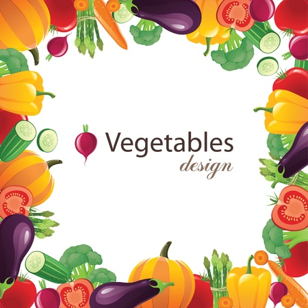 vegetables frame for your designs のイラスト素材