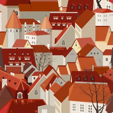 Illustration pour Seamless city landscape with tile roofs - image libre de droit