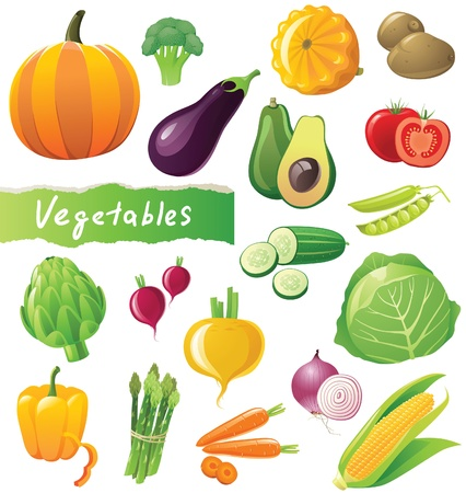 Fresh vegetables icons setのイラスト素材
