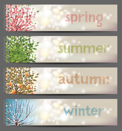 Illustration pour  4 seasons horizontal banners - image libre de droit