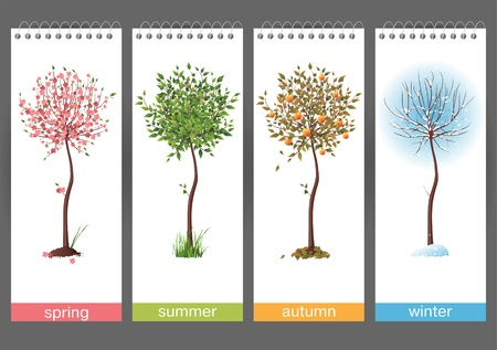 Illustration pour Small tree in 4 different seasons - image libre de droit