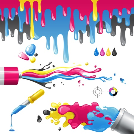 Bright splashes in CMYK colors