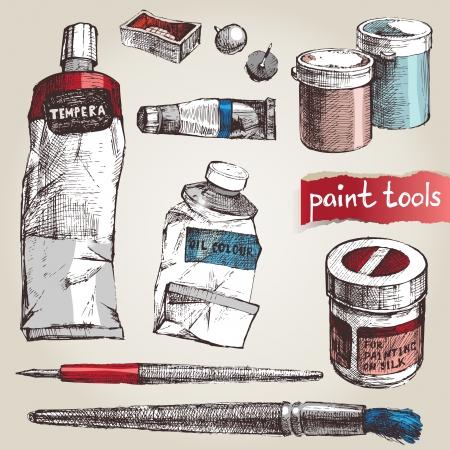 Set of hand drawm paint tools