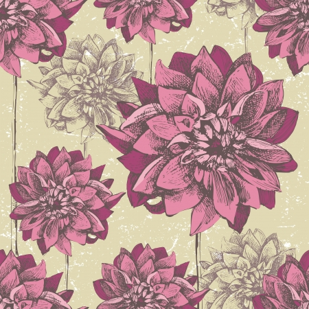 Retro-styled seamless pattern with hand drawn dahlia flowers
