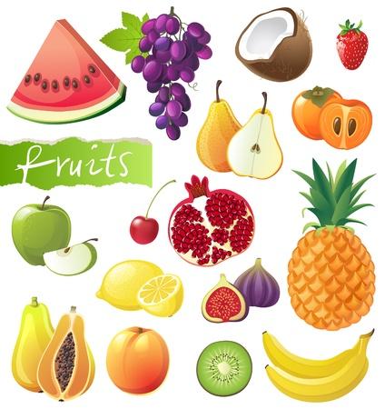 Fresh juicy fruits set