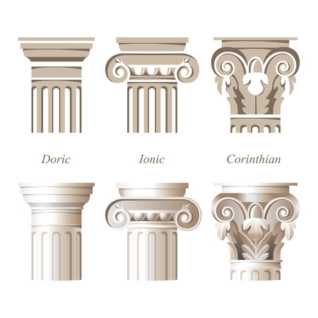 stylized and realistic columns in different styles - ionic, doric, corinthian - for your architectural designs