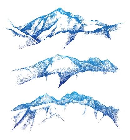 Illustration pour hand drawn mountain range set - image libre de droit
