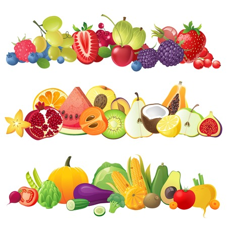 3 fruits vegetables and berries horizontal bordersのイラスト素材