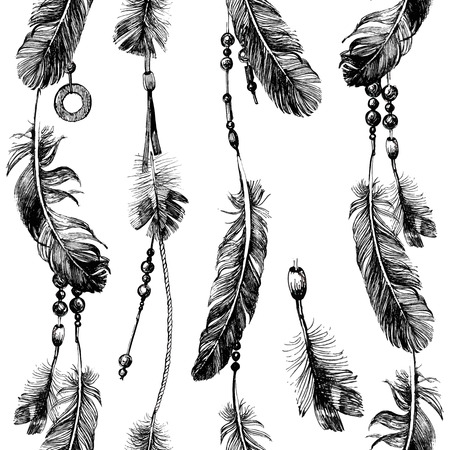 Illustration pour seamless pattern with hand drawn feathers and beads in tribal style - image libre de droit