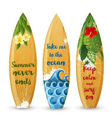 Illustration pour 3 wooden surfboards with prints and different type designs - image libre de droit