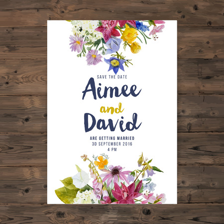 Illustration pour wedding invitation card with watercolor flowers - image libre de droit