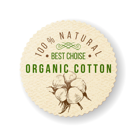 Illustration pour Organic cotton round label with type design - image libre de droit