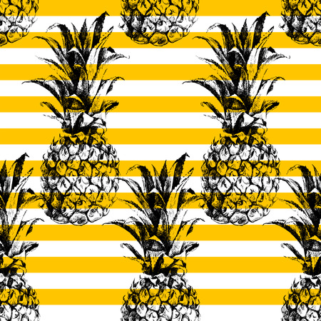 Illustration pour Hand drawn striped pineapple seamless pattern - image libre de droit