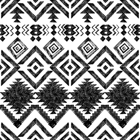 Black and white hand drawn tribal seamless pattern