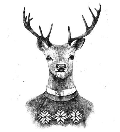 Ilustración de hand drawn deer portrait in kneated sweater - Imagen libre de derechos