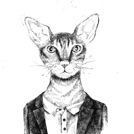 Illustration pour Hand drawn hipster cat dressed up in urban style - image libre de droit