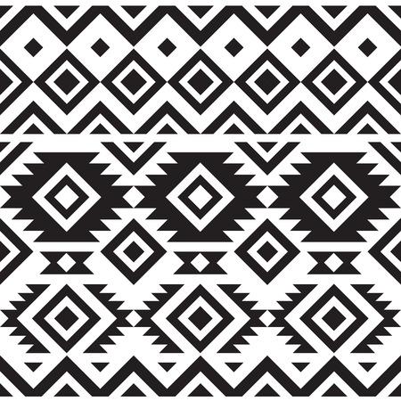 Ilustración de black and white geometry tribal seamless pattern - Imagen libre de derechos