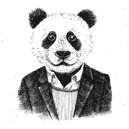 dressed up hipster panda on white background