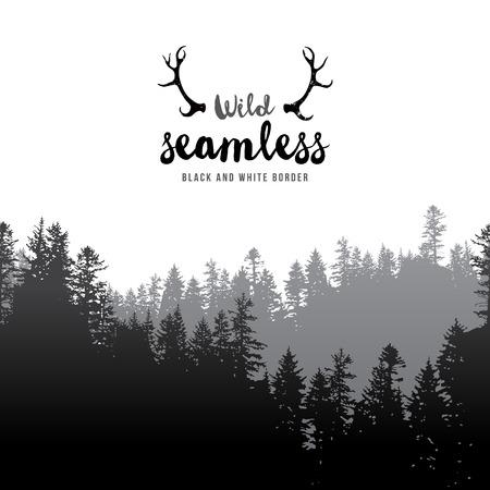 Illustration pour Vector illustration of  seamless coniferous forest border - image libre de droit