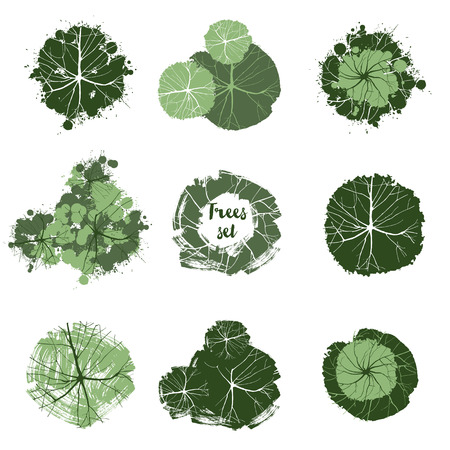 Illustration pour Trees top view. Easy to use in your landscape design projects - image libre de droit