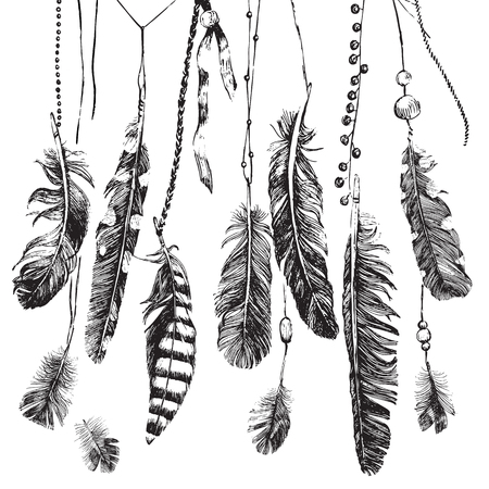 Illustration pour Tribal theme background with hand drawn feathers - image libre de droit