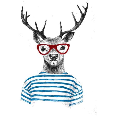 Ilustración de Hand drawn dressed up deer in hipster style - Imagen libre de derechos