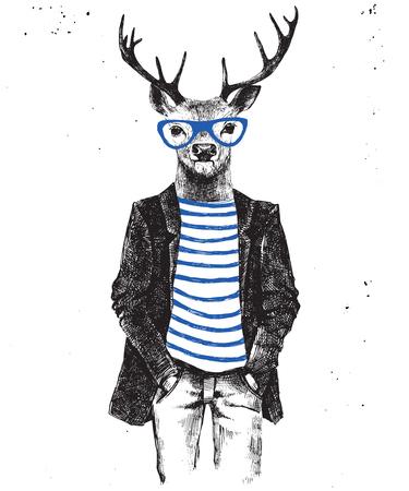 Ilustración de Hand drawn dressed up hipster deer. Vector illustration in hipster style - Imagen libre de derechos