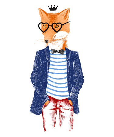 Ilustración de Colorful hand drawn dressed up fox in hipster style - Imagen libre de derechos