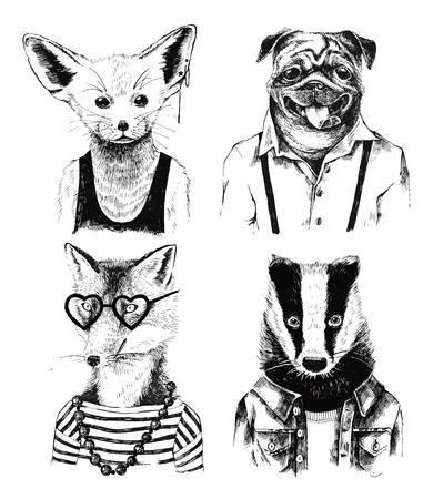 Ilustración de Hand drawn dressed up black and white badger in hipster style - Imagen libre de derechos