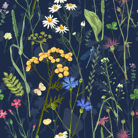 Illustration pour Hand drawn seamless with colorful herbs and flowers on dark background - image libre de droit
