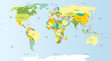 Highly detailed political world map