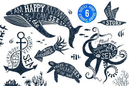 Illustration pour Hand drawn set of summer lettering in silhouettes - image libre de droit