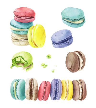 Illustration pour Different types of macaroons on plain background. - image libre de droit