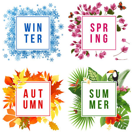 Ilustración de Four seasons banners set with leaf illustration on white background. - Imagen libre de derechos
