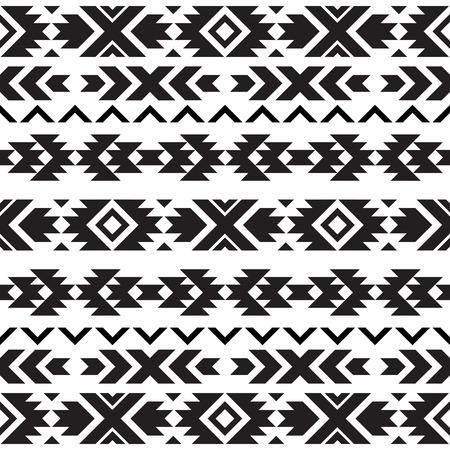 Illustration pour Seamless tribal black and white pattern - image libre de droit