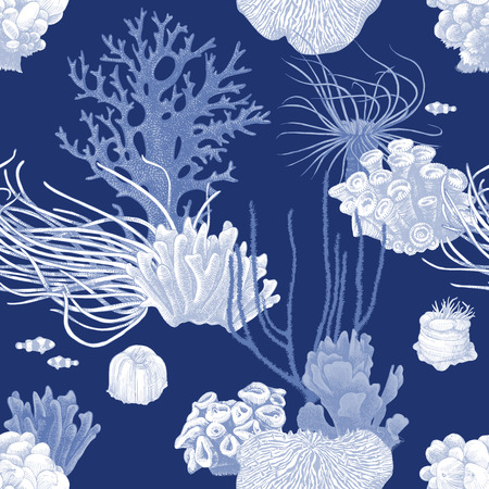 Illustration pour Seamless pattern with colorful hand drawn coral reef on dark blue background. Vector illustration in vintage style - image libre de droit