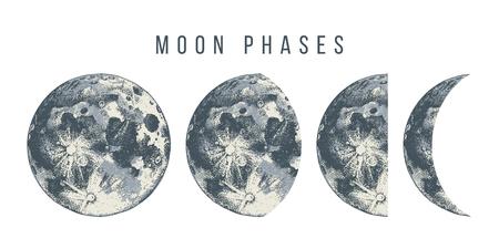 Ilustración de Moon phases. Hand drawn vector illustration - Imagen libre de derechos